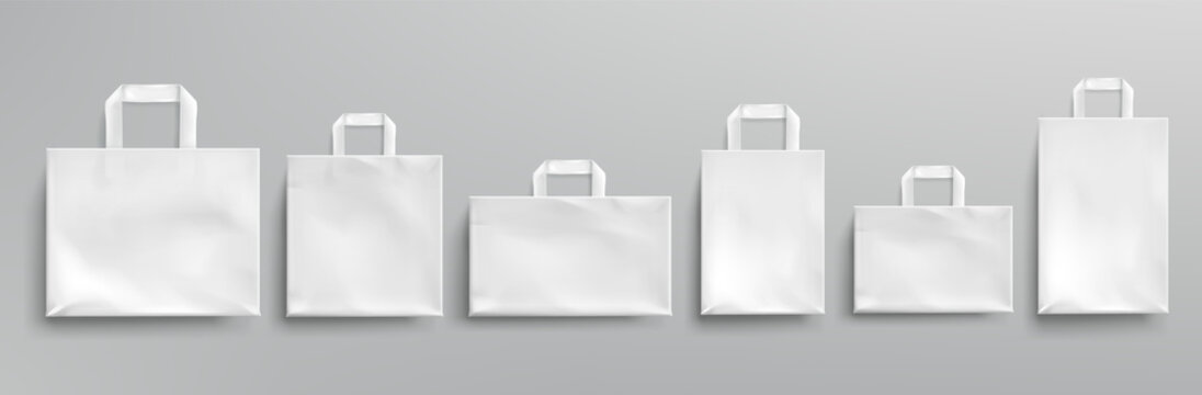 Vector mockup of white paper eco bags