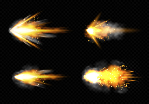 Gun flashes with fire and smoke. Pistol shots set