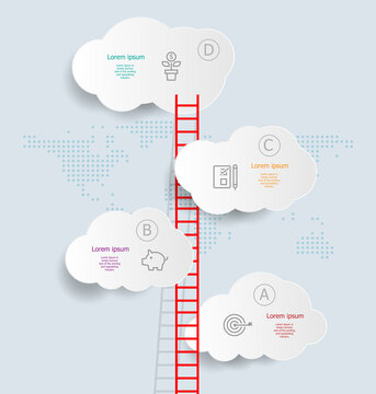 abstract vertical cloud infographics 4 steps for business and presentation