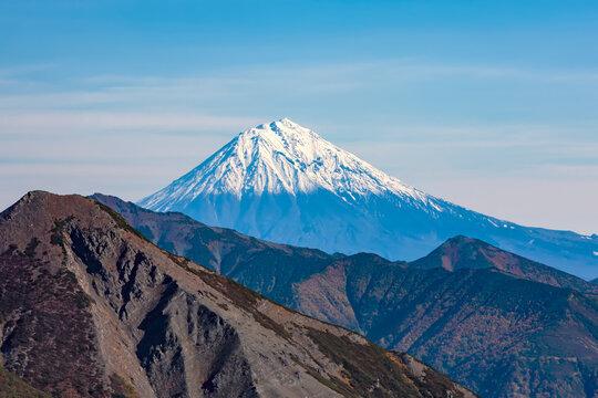 steep top of Avachinsky Volcano, Kamchatka, Russia.