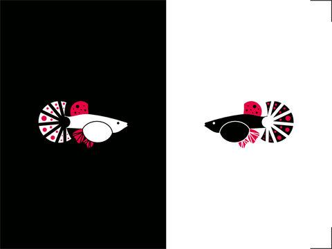 high contrast card guppy fish