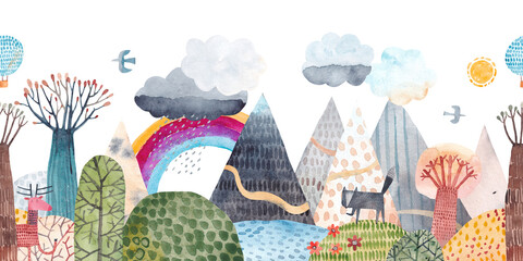 Mountain landscape, hills, trail, lonely wolf, lake, balloon and clouds. Watercolor illustration. Children's poster. Horizontal seamless pattern.