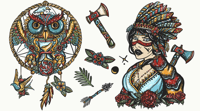 Native American Indian color old school tattoo vector collection. Ethnic warrior girl, shamanic female, dream catcher, owl. Tribal culture and history. Traditional tattooing style