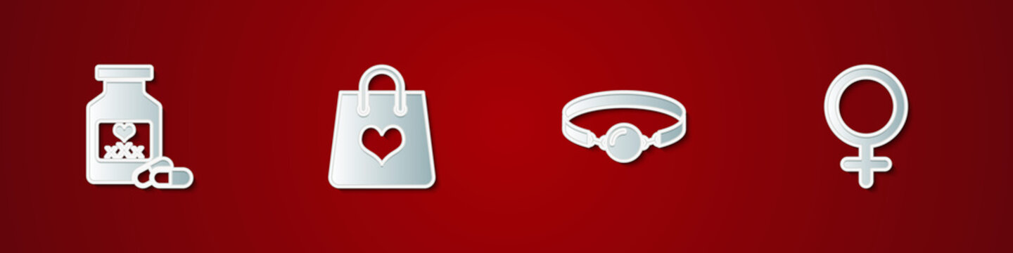 Set Bottle with pills for potency, Shopping bag heart, Silicone ball gag and Female gender symbol icon. Vector.