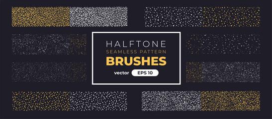 Obraz Halftone grain pattern brushes. Grunge noise texture set. Vector illustration eps10. Creative artistic brush collection. Basic kit. Ink paint strokes. - fototapety do salonu