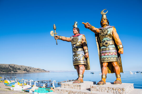 Statues of Sun God and Moon Goddess at Lake Titicaca, Bolivia