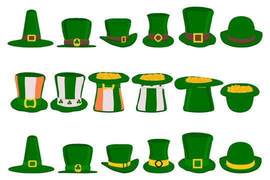 Illustration on theme Irish holiday St Patrick day, set headdress hats