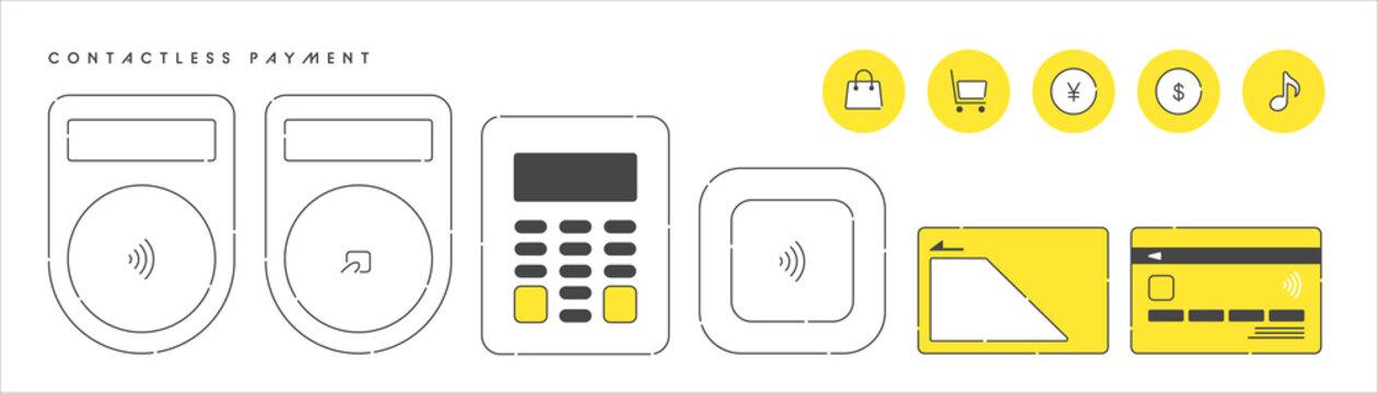 キャッシュレス決済のイラスト。クレジットカードと端末。非接触型決済のアイコンセット。