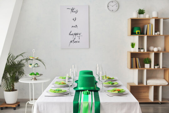 Table set for St. Patrick's Day celebration