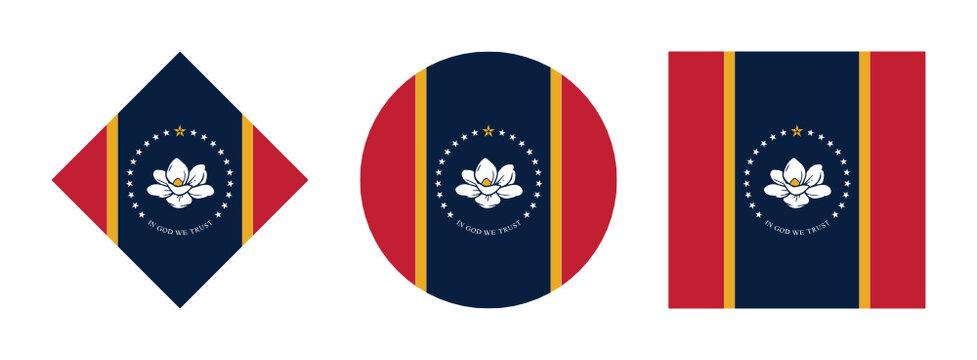 mississippi flag icon set isolated on white background