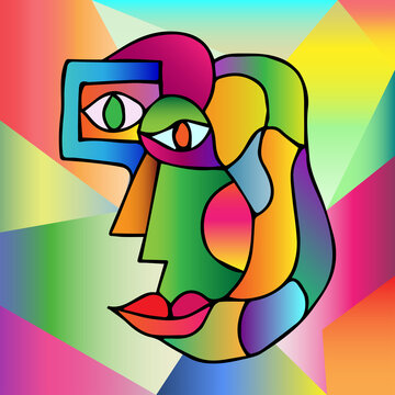 Abstract design of surreal face portrait. Hand drawn face with a hint of cubism in funky colors. Concept art can be used for fashion, beauty treatment, health, and mental wellbeing.