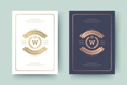 Wedding invitation save the date card golden typographic elegant template vector illustration