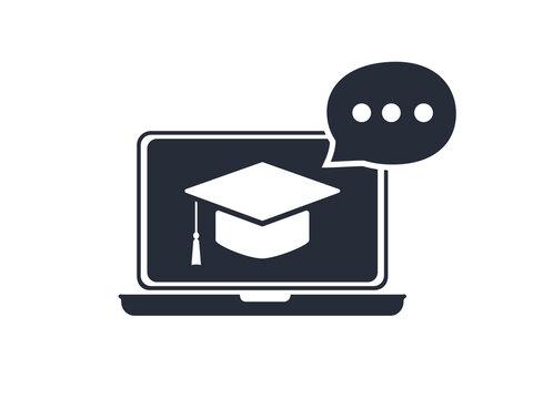 Online education resources vector line icon, online learning courses, distant education, e-learning tutorials.