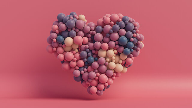 Multicolored Balloon Love Heart. Pink, Cream and Purple Balloons arranged in a heart shape. 3D Render