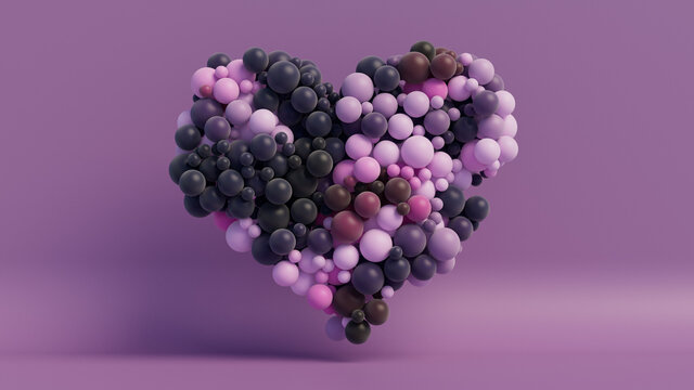 Multicolored Balloon Love Heart. Pink, Magenta and Navy Blue Balloons arranged in a heart shape. 3D Render