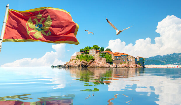 Flag and Sveti Stefan Island