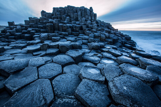The Basalt Columns At The Giants Causeway At Sunset