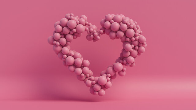 Balloon Love Heart. Pink Balloons arranged in a heart shape. 3D Render