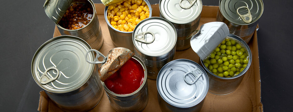 Canned beans, peas, corn, tomatos. Tin cans