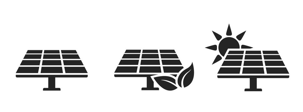 solar panel icon set. eco friendly, sustainable, renewable and alternative energy symbols
