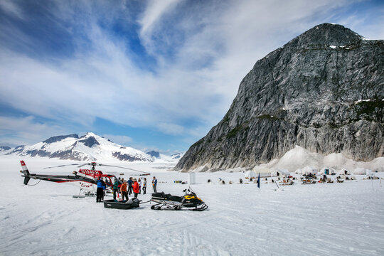 Helicopter Dogsled Tour flies you over the Taku Glacier to the HeliMush dog camp at Guardian Mountain above the Taku Glacier, Juneau Ice Field