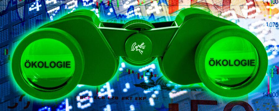Börse DAX grünes Fernglas Ökologie grüne Aktien Konzept symbolisch Banner