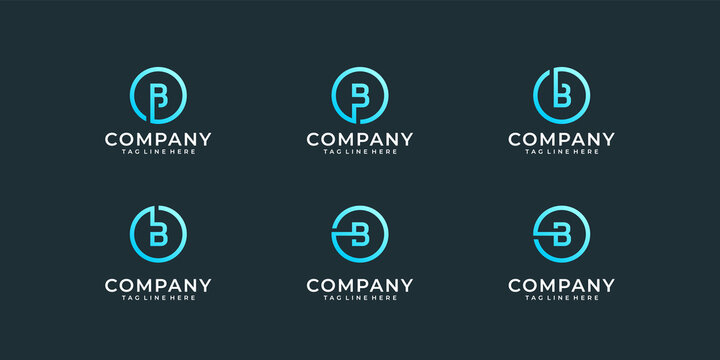 Collection of letter b logo design inspiration template