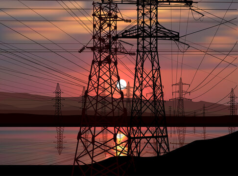electric towers group with reflection at sunset