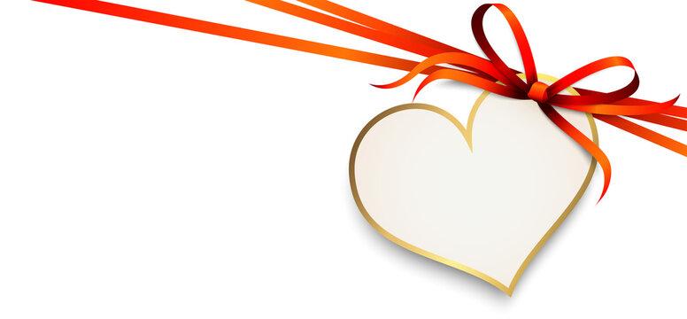 red ribbon bow with heart hang tag