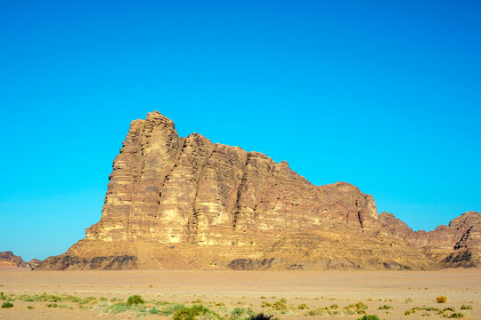 Rock outcrop known as the Seven Pillars of Wisdom, Wadi Rum, Jordan.