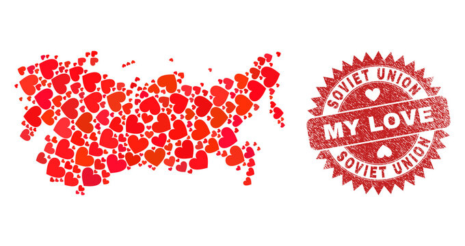Vector collage Soviet Union map of love heart items and grunge My Love seal stamp. Collage geographic Soviet Union map created with lovely hearts.