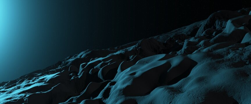 Lifeless stone surface of an asteroid illuminated by rays of a blue star. Fantastic landscape. Deep space scene. 3D illustration.