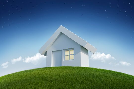 Dream house on grass - 3d illustration