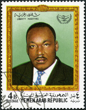 KINGDOM OF YEMEN - 1968: shows Dr. Martin Luther King Jr. (1929-1968), American civil rights leader, 1968