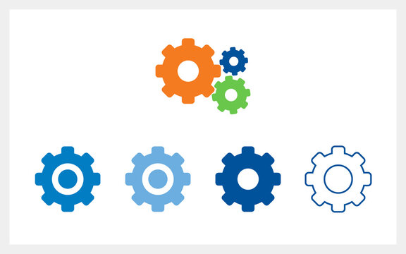 Settings icon with additional gears icon, vector flat illustration