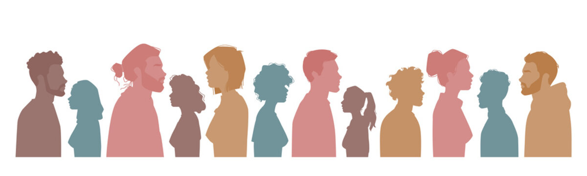 Diverse people silhouettes, multiracial, multicultural crowd of men and women, side view portraits. Vector group of caucasian, afro american citizens. Multi-ethnic popularity, equality, togetherness