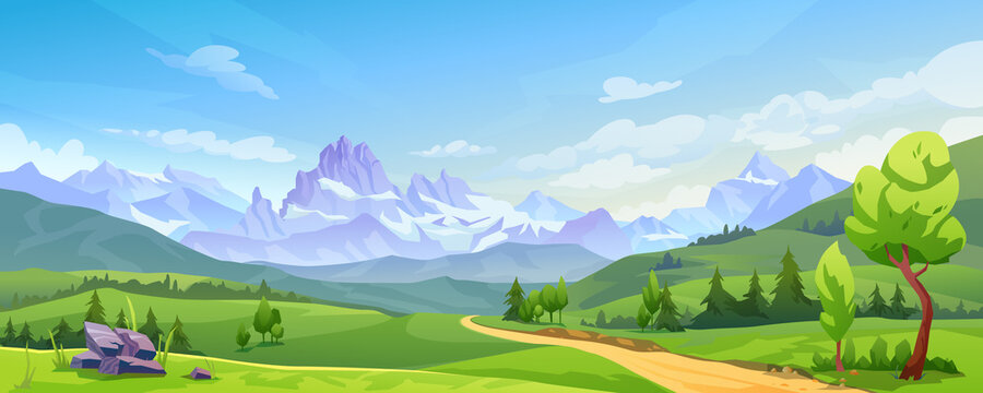 Mountain landscape with green hills, sandy road and natural valley. Vector picturesque place background, green fir trees and rocks. Snowy mounts, scenic hills, spring or summer nature, blue sky