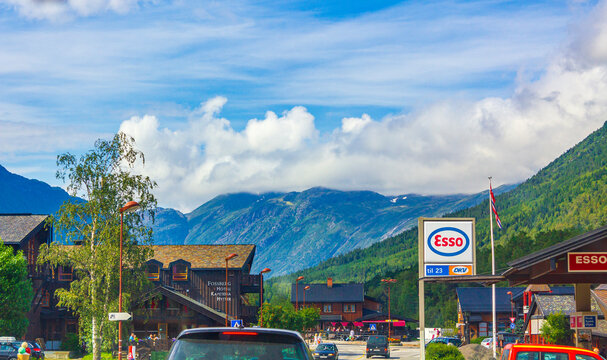 Typical cityscape of Lom in Norway hotels gas stations streets.