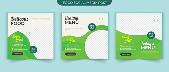 Wall Mural - Vegetarian healthy food social media post banner square template for food promotion