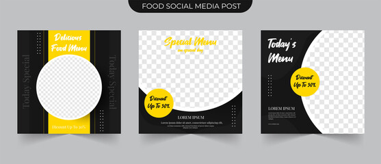 Wall Mural - Fast food post and Set collections of fully editable square banners. Food Instagram post template design. Suitable for Social Media Post Restaurant and culinary Promotion. Black and yellow background
