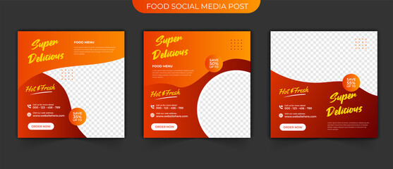 Wall Mural - Fast food post and Set collections of fully editable square banners. Food Instagram post template design. Suitable for Social Media Post Restaurant and culinary Promotion. Red and yellow background