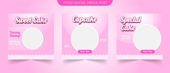 Wall Mural - Set of editable food and sweet cake concept square banner template