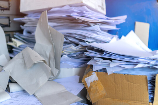 Stack old recycle papers or pile disposal ecology junk white paper business of document paperwork on trash papersheet