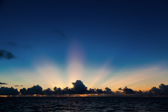 Sunset on an island of Maldives