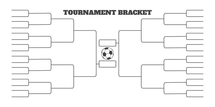 32 soccer team tournament bracket championship template flat style design vector illustration isolated on white background. Championship bracket schedule for soccer, football game spreadsheet.