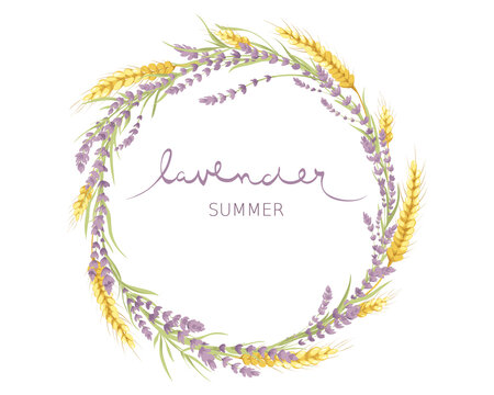 Cards for Wedding invitation. Vector design element, wreaths  of lavender and wheat ears, calligraphy lettering.