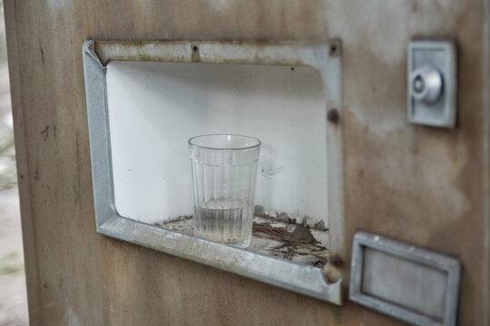 Broken refreshments drinks machines in overgrown ghost city Pripyat,