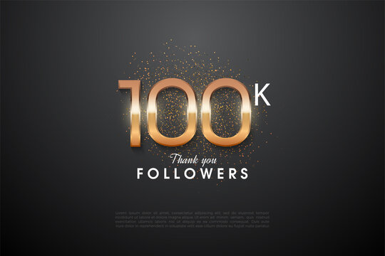 Thank you to 100k followers with a glittering 3D number on the top.