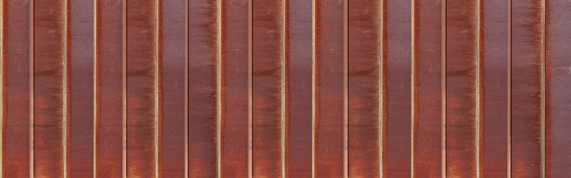 Panorama of Rusty iron fence or Rusty iron wall  pattern and background seamless