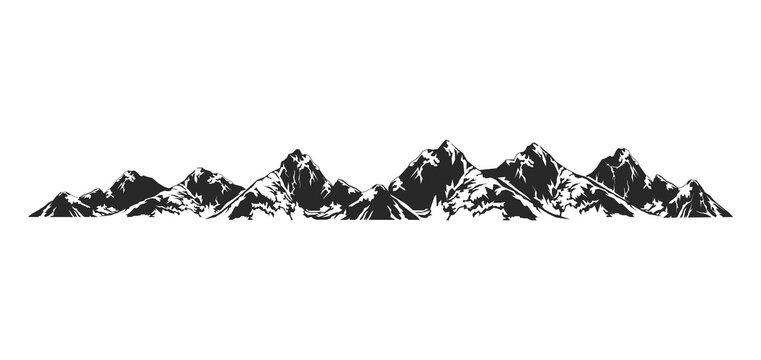 Alpine Mountain vector illustration, nature icon for logo elements